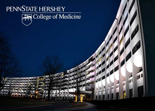 Outside view of the Penn State Hershey Milton S. Hershey Medical Center building at night