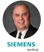 Siemens logo and staff member headshot