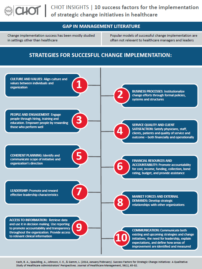 10 sucess factors for the implementation of strategic change initiatives in healthcare