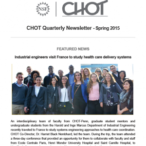 CHOT Spring 2015 Quarterly Newsletter screen capture of the cover page.