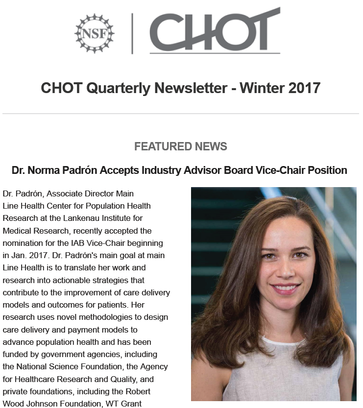 CHOT Winter 2017 Quarterly Newsletter screen capture of the feature news page