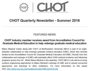 CHOT Summer 2016 Quarterly Newsletter screen capture of the cover page