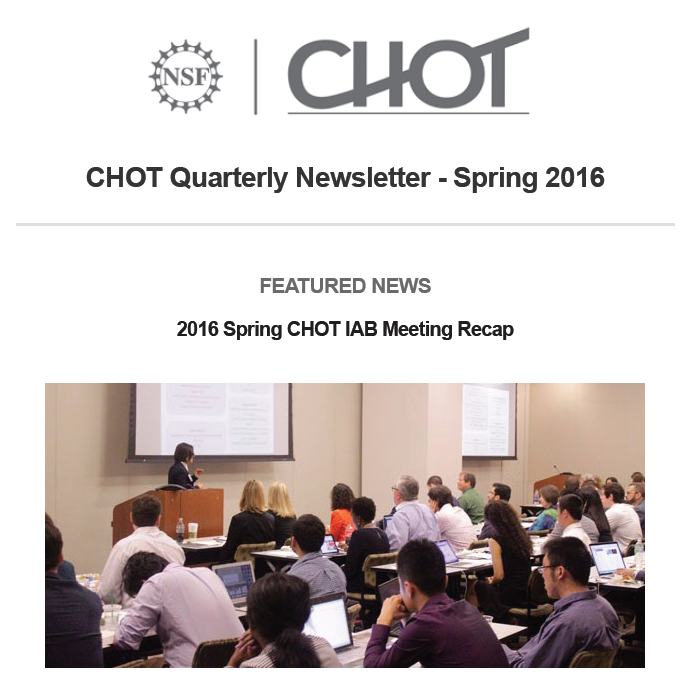 CHOT Spring 2016 Quarterly Newsletter screen image of the cover page. Picture is off people sitting in a conference room.