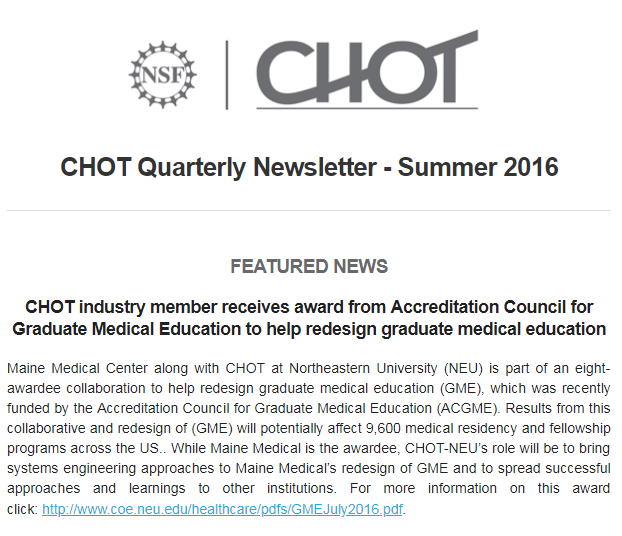 CHOT Summer 2016 Quarterly Newsletter screen capture of the cover page. Picture is of news article text.