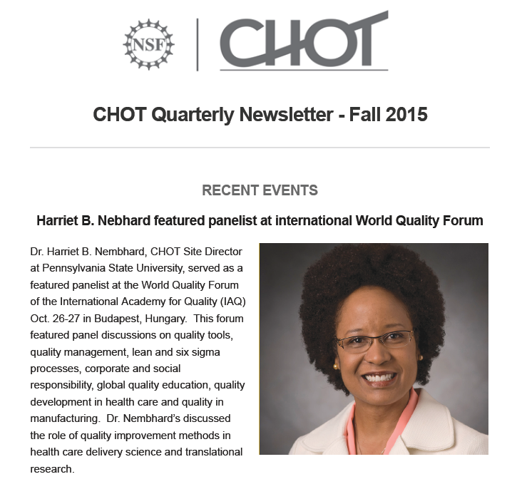 CHOT Fall 2015 Quarterly Newsletter screen capture of the cover page