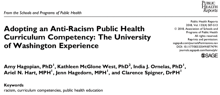 Public Health Reports screenshot of research title