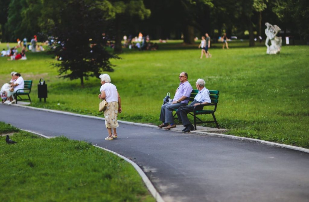 Elderly people in park stock photo
