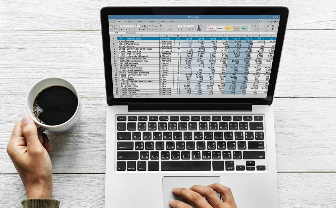 Laptop with data stock photo