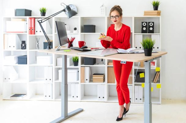 Standing desk stock photo