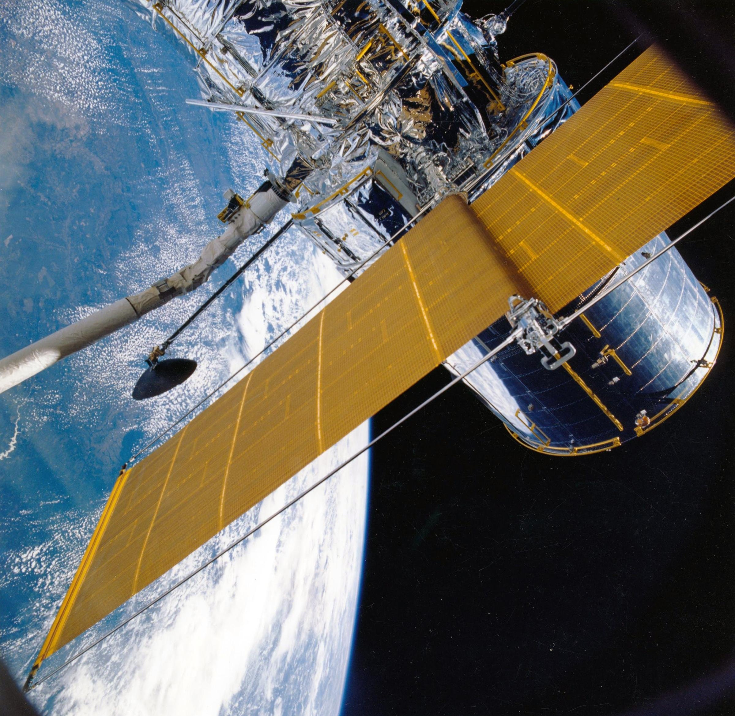 Aerial aerospace image of earth and space equipment